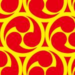 赤と黄色の活気ある巴紋パターン