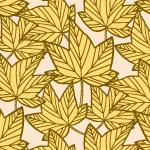 黄色の楓の葉っぱのイラスト柄パターン