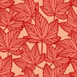赤い楓の葉っぱのイラスト柄パターン