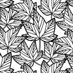 白黒の楓の葉っぱのイラスト柄パターン