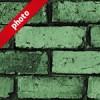 ゴツゴツした緑色のレンガブロック写真加工パターン