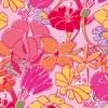 ピンクカラーのラフタッチな花のイラストパターン