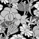 白黒のラフタッチな花のイラストパターン