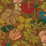 ブラウンカラーのラフタッチな花のイラストパターン