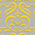 黄色のハートを模したダマスク柄パターン