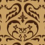 茶色のハートを模したダマスク柄パターン