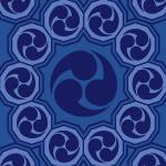 紺色の巴紋が幾何学的につながるパターン