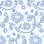 青色の植物イラストパターン