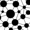 白黒のドットとラインがつながるパターン