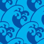 波のイラストが連続するパターン