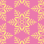 ピンク色の雪の結晶イラスト幾何学パターン