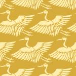 黄色の鶴のイラスト和柄パターン