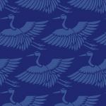 紺色の鶴のイラスト和柄パターン