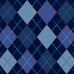 紺色基調のアーガイルチェック柄パターン