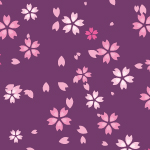 紫色背景の桜のイラストパターン