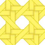 黄色のバスケット編み柄パターン