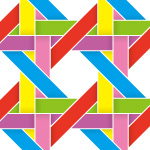 虹色のバスケット編み柄パターン