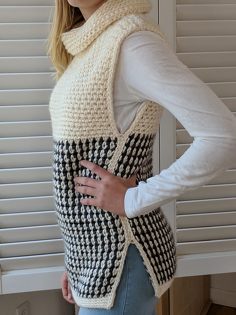 Easy Cowled Sweater Vest Crochet Pattern