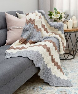 Calming Colors Chevron Throw Knitting Pattern