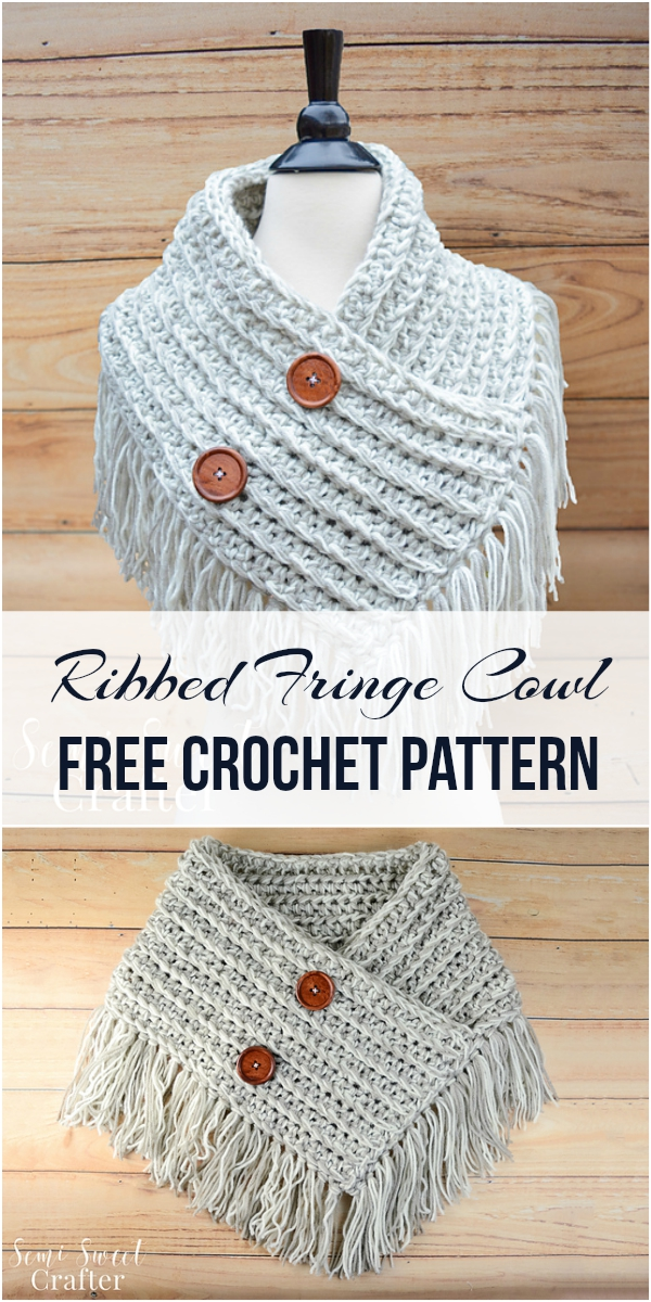 Ribbed Fringe Cowl Free Crochet Pattern