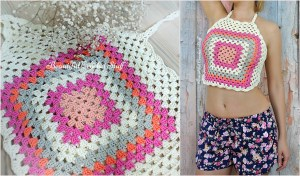 Granny Square Crochet Halter Top Pattern