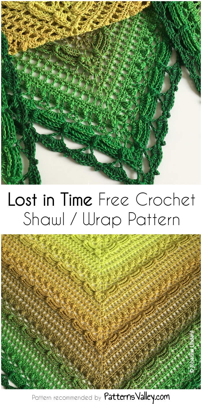 Lost In Time Free Crochet Shawl Wrap Pattern