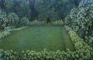Peinture de jardin, écriture, tranquillité, espoir, spiritualité, paysage mystique