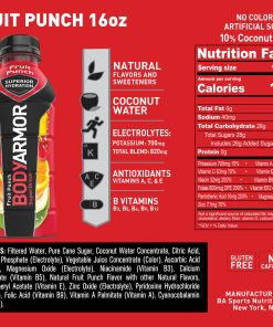 BODYARMOR Sports Drink, Fruit Punch, 16 Fl. Oz., 12 count