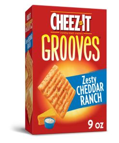 Cheez-It Grooves Zesty Cheddar Ranch Baked Snack Cheese Crackers – 9 Oz Box