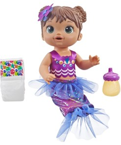 Baby Alive Shimmer n Splash Mermaid Baby Doll, Brown Hair, Ages 3 and up