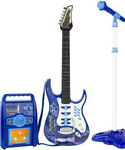 Best Choice Products Kids Electric Musical Guitar Play Set w/ Microphone, Aux Cord, Amp – Blue