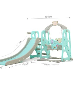 3 in 1 Kids Children Combination Slide and Swing Set, 2 in 1 Toddler Slide Set With Basketball Hoop Gym Set Playset Best Gift For Child Toddlers