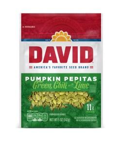 DAVID Green Chili with Lime Pumpkin Pepitas Seeds 5-oz. Resealable Bag