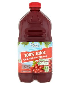 (2 pack) Great Value 100% Juice, Cranberry Blend, 64 Fl Oz, 1 Count