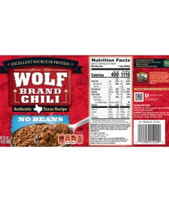 (2 pack) WOLF BRAND Chili, No Beans, Chili Without Beans, 24 oz.