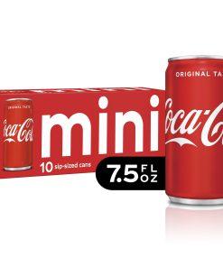 (3 Pack) Coca-Cola Mini Can Soda, 7.5 Fl Oz, 10 Count