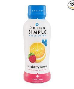 Drink Simple Raspberry Lemon Maple Water – Organic, Non-GMO, Gluten Free, Vegan Natural Hydration – Low Sugar Coconut Water Alternative – 12 Fluid Ounce (Pack of 12)