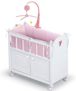 Badger Basket Cabinet Doll Crib with Gingham Bedding and Free Personalization Kit – White/Pink – Fits American Girl, My Life As  Most 18″ Dolls