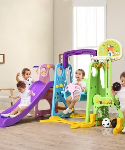 Costway 6 In 1 Toddler Climber and Swing Set w/ Basketball Hoop & Football Gate Backyard
