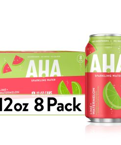 AHA Sparkling Water, Lime Watermelon Flavored Water, Zero Calories, Sodium Free, No Sweeteners, 12 fl oz, 8 Pack