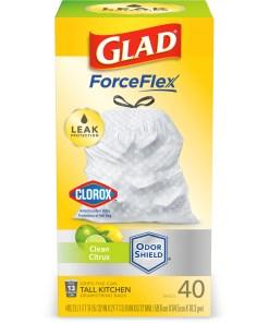 Glad Tall Kitchen Trash Bags, 13 Gallon, 40 Bags (ForceFlex, Clean Citrus)