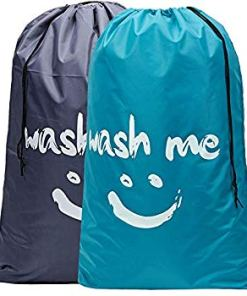 2 Pack XL Wash Me Travel Laundry Bag, Machine Washable Dirty Clothes Organizer, Large Enough to Hold 4 Loads of Laundry, Easy Fit a Laundry Hamper or Basket, Light Blue and Grey