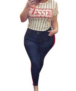 JDinms Women Side Stripe Jeans Stretch Skinny Denim Pants