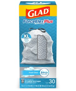 Glad Tall Kitchen Trash Bags, 20 Gallon, 30 Bags (ForceFlexPlus XL, Fresh Clean)