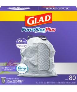 Glad Tall Kitchen Trash Bags, 13 Gallon, 80 Bags (ForceFlexPlus, Lavender)