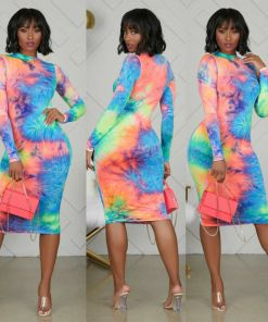 2020 Brand New Women Female Long Sleeve O Neck Tie Dyeing Print Bodycon knee Pencil Dress for Party Cocktail Club
