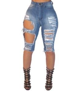Latest Design Fashion Summer Women skinny elastic Female Bottoms Ladies Trousers Denim abrade hole Shorts Jeans Pants