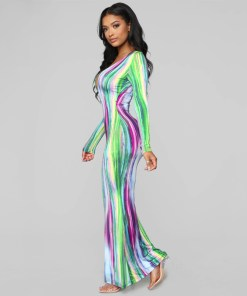 2020 Tie Dye Stripe Print Sexy Maxi Dress Women Spring Fashion Vestidos Night Club Party Long Sleeve Bodycon Dresses