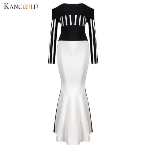 dress Fashion Women Casual Long Sleeve Sexy Dress One Collar Stripe Bag Buttocks Party new dress women 2019DEC13