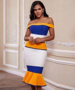 2020 New Arrivals Bandage Dresses Off Shoulder Celebrity Bandage Dresses Yellow Midi Bodycon Mermaid Party Dresses